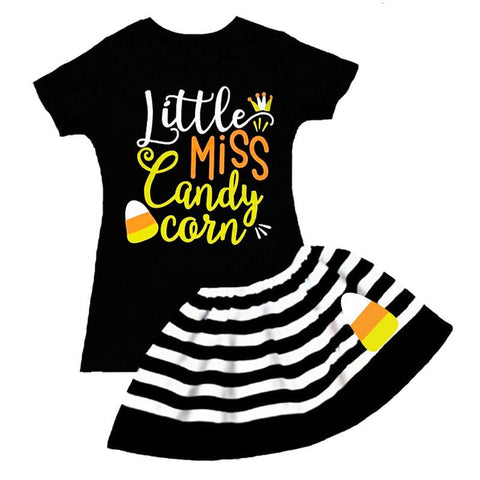 Miss Candy Corn Outfit Black Stripe Top And Skirt