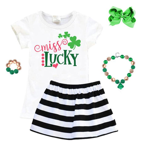 Miss Lucky Shamrock Outfit Stripe Top And Skirt