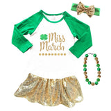Miss March Shirt Clover Gold Green Raglan
