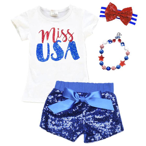 Miss Usa Shirt Sparkle Blue Red