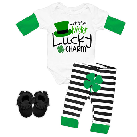 Mister Lucky Charm Stripe Onesie And Pants