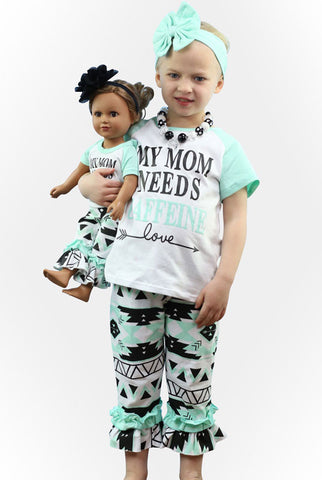 Mom Needs Caffeine Aztec Capri Set