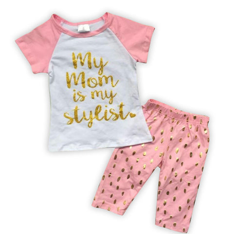 Mom Stylist Pink Gold Baby Doll Capri Set