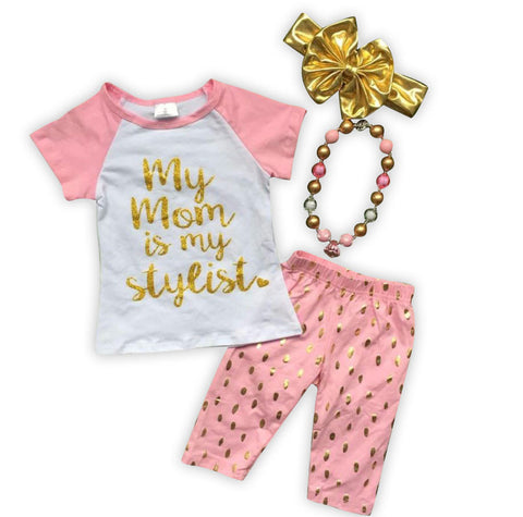 Mom Stylist Pink Gold Capri Set