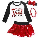 Mommy Kissing Santa Shirt Black Raglan Red Sparkle