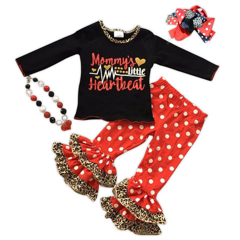 Mommys Little Heartbeat Polka Top And Pants