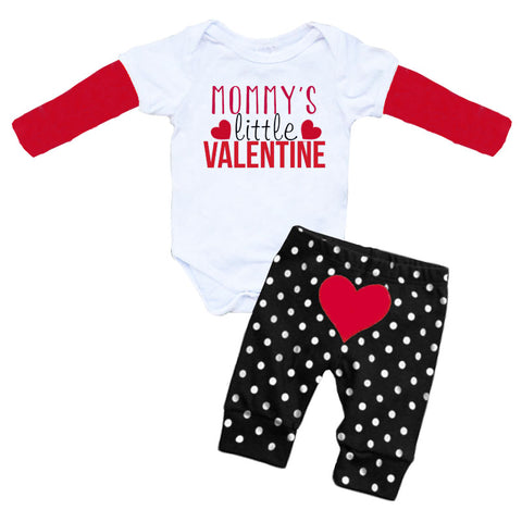 Mommys Little Valentine Black Polka Dot Onesie And Pants