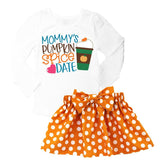 Mommys Pumpkin Spice Date Orange Polka Dot Top And Skirt