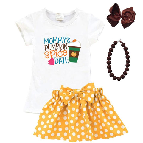 Mommys Pumpkin Spice Date Outfit Mustard Polka Dot Top And Skirt