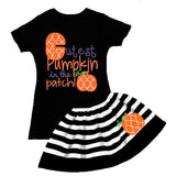 Moroccan Pumpkin Patch Outfit Black Stripe Top And Skirt