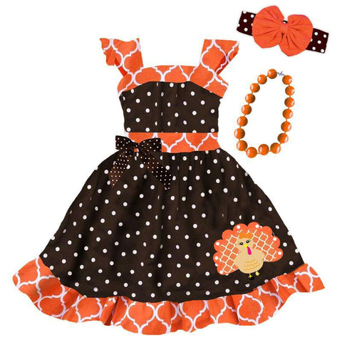 Moroccan Turkey Dress Brown Polka Dot Orange