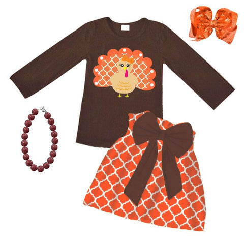 Moroccan Turkey Outfit Orange Brown Top And Skirt