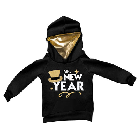 Mr New Year Hoodie Gold Hat Black