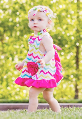 Multi Color Chevron Ruffle Two Piece Dress