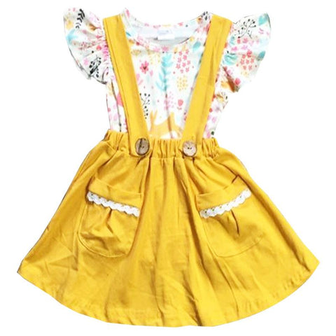 Mustard Bunny Floral Dress Lace Pockets