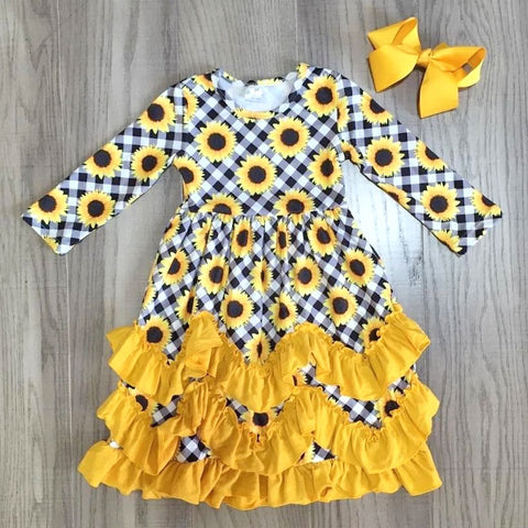 Mustard Gingham Plaid Ruffle Sunflower Dress And Hair Bow Set