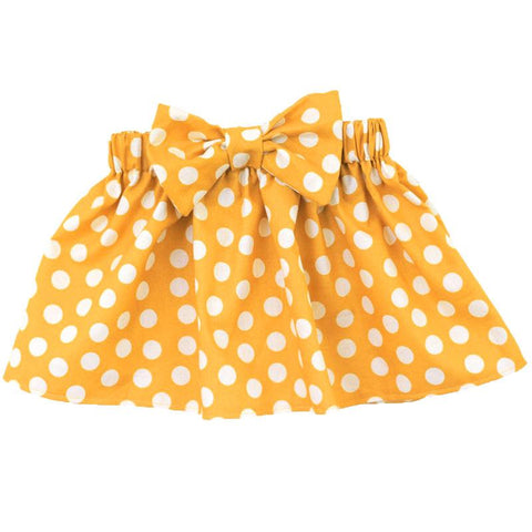 Mustard Skirt Polka Dot Bow