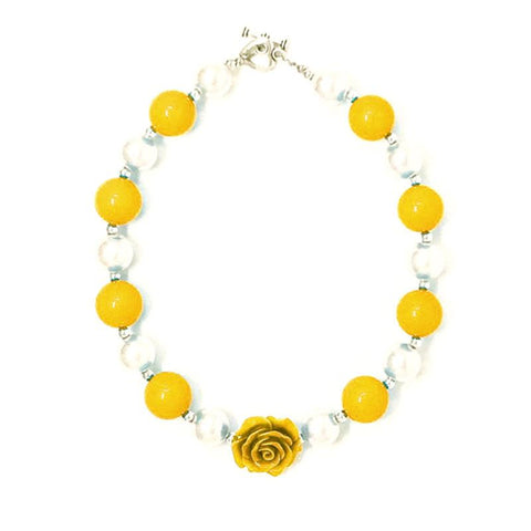 Mustard Yellow Flower Necklace Chunky Gumball