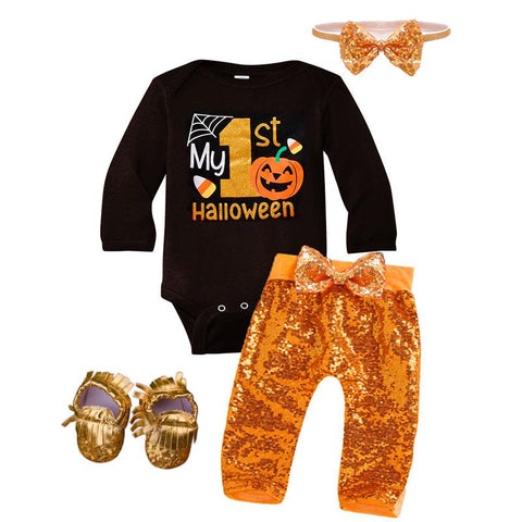 My First Halloween Outfit Orange Sequin Onesie And Pants