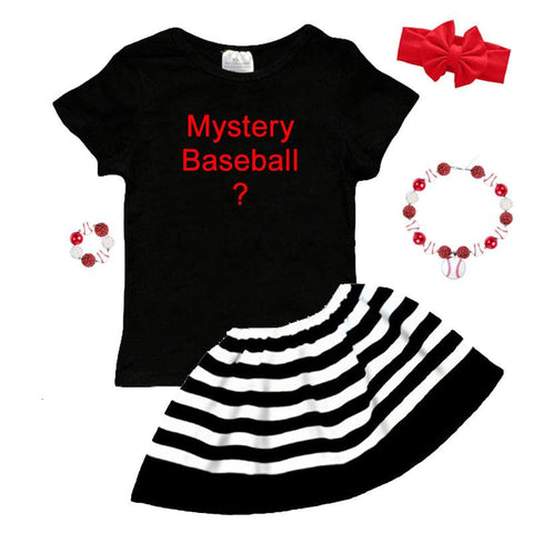 Mystery Baseball Graphic Outfit Black Stripe Ruffle Top And Skirt