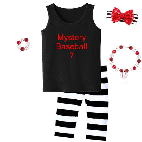 Mystery Baseball Graphic Outfit Black Stripe Tank Top And Capri