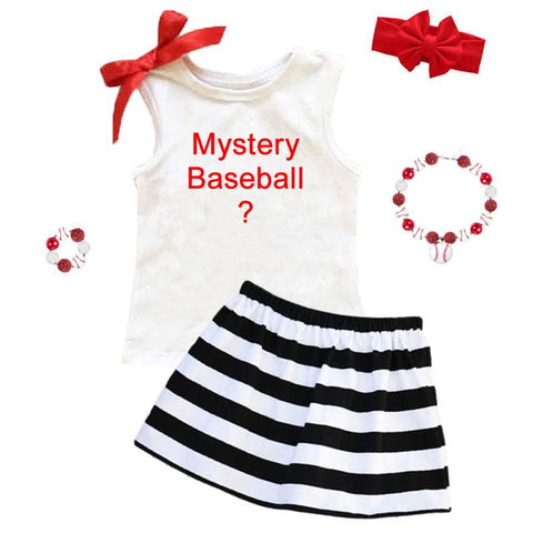 Mystery Baseball Graphic Outfit Black Stripe Top And Skirt