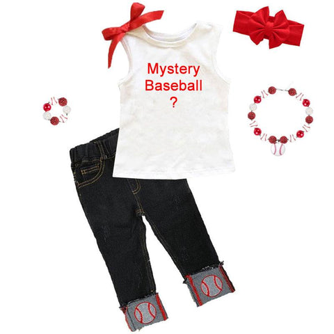 Mystery Baseball Graphic Outfit Denim Bow Top And Capri