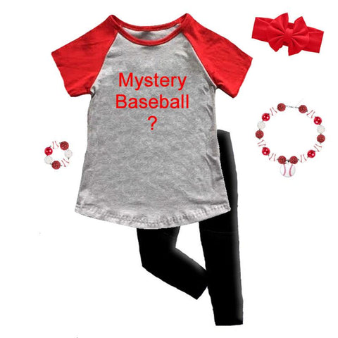 Mystery Baseball Graphic Outfit Gray Raglan Top And Capri