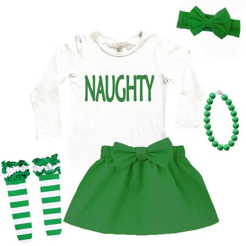Naughty Green Outfit Bow White Top And Skirt