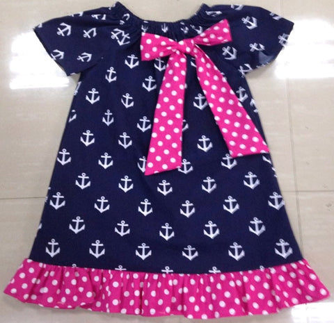 Navy Anchor Pink Polka Ruffle Dress