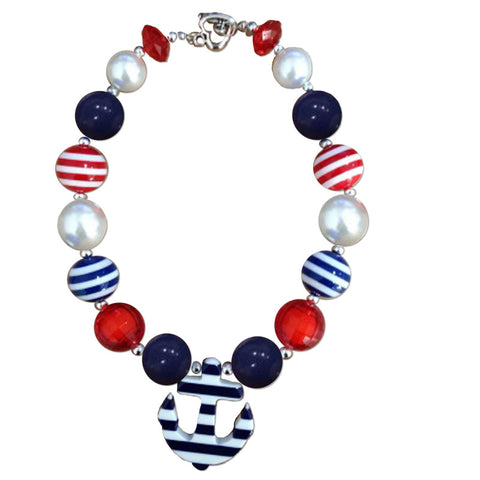 Navy Anchor Stripe Red Necklace