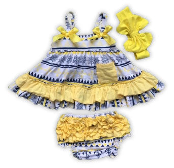 Navy Anchor Yellow Ruffle Two Piece