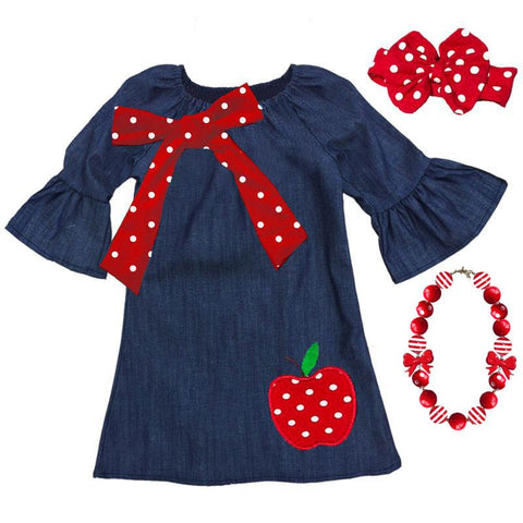 Navy Apple Dress Red Polka Dot Bow