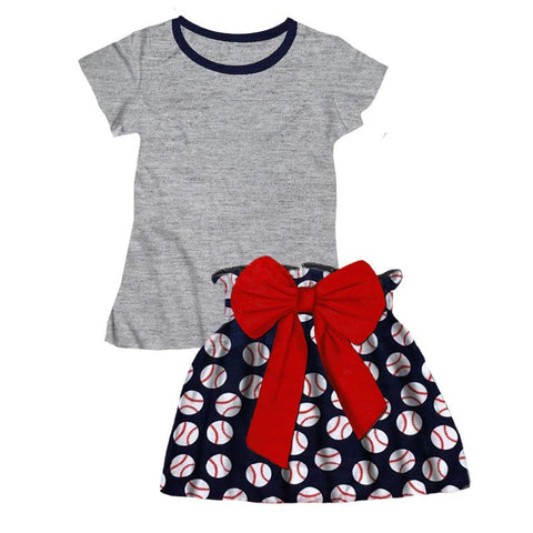 Navy Baseball Outfit Gray Top And Skirt