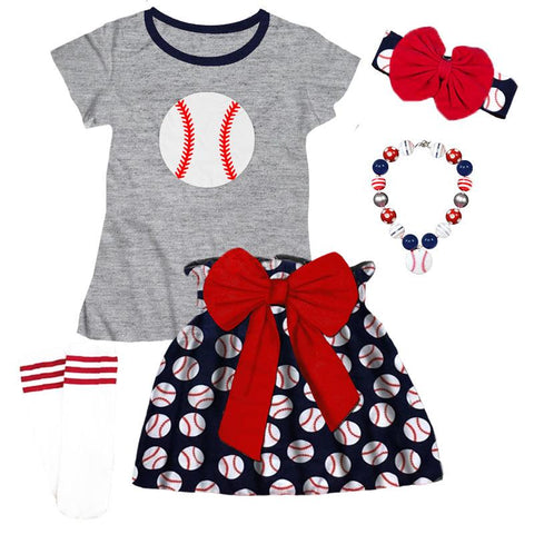Navy Baseball Outfit Red Bow Skirt Gray