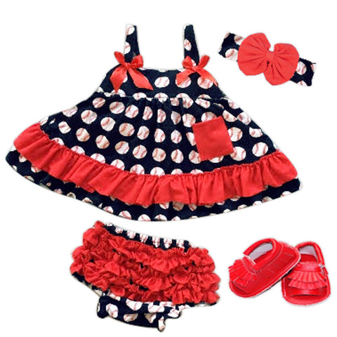 Navy Baseball Red Ruffle Two Piece Dress