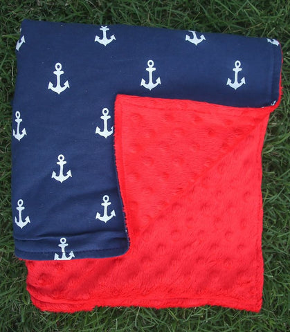 Navy Blue Anchor Red Minky Blanket