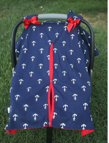 Navy Blue Anchor Red Minky Car Seat Canopy