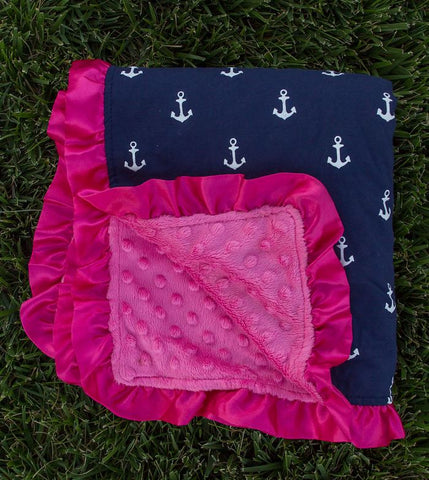 Navy Blue Anchor Ruffle Pink Minky Blanket