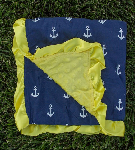 Navy Blue Anchor Ruffle Yellow Minky Blanket