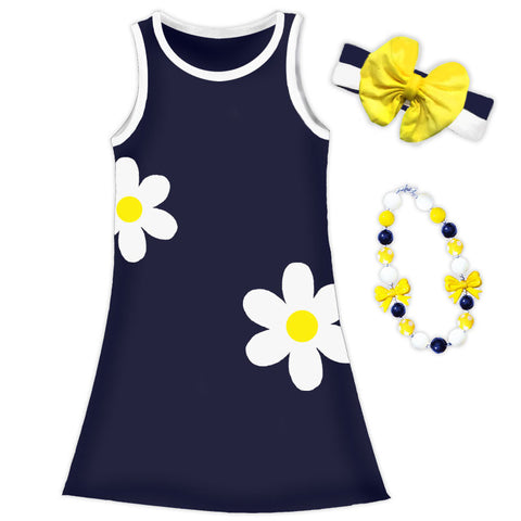 Navy Blue Daisy Tank Dress