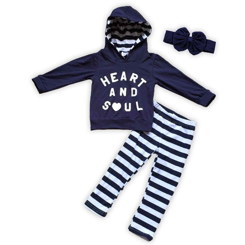 Navy Blue Heart And Soul Hoodie Pant Set