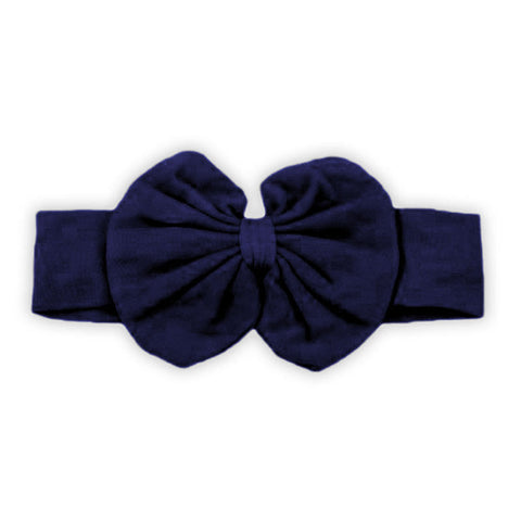 Navy Blue Messy Bow Head Wrap