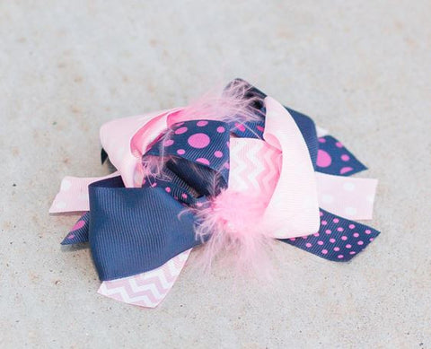 Navy Blue Pink Polka Bow