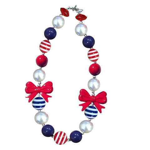 Navy Blue Stripe Necklace Red Bow Gumball Chunky