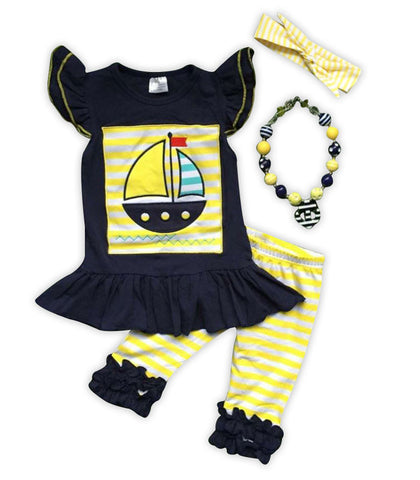 Navy Blue Yellow Stripe Sailboat Capri Set