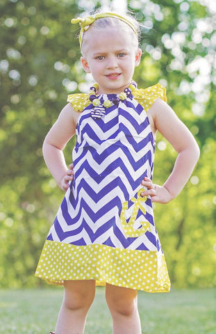 Navy Chevron Yellow Anchor Polka Dress