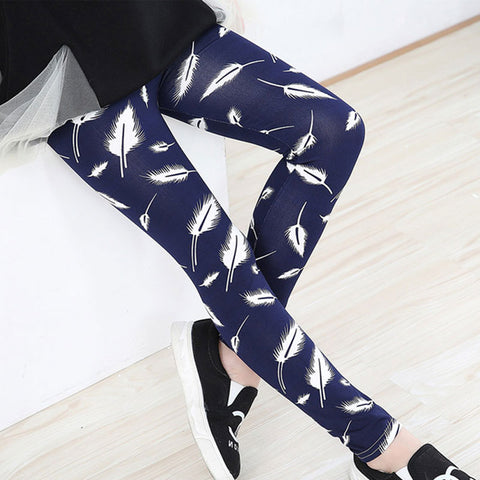 Navy Feather Leggings