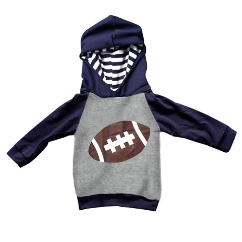 Navy Football Hoodie Boys Gray Stripe