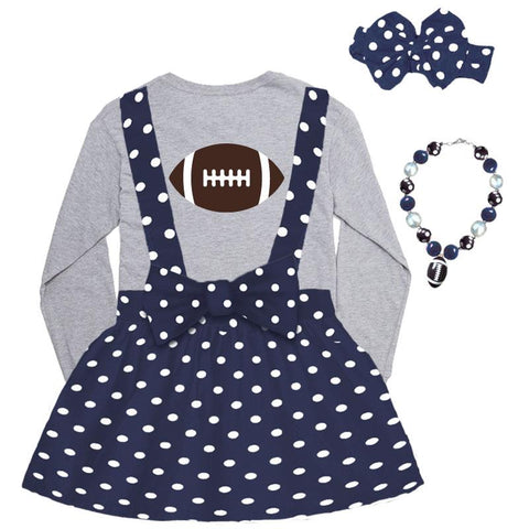 Navy Football Jumper Polka Dot And Gray Top